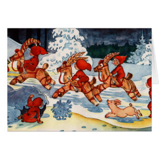 Elves Racing Yule Goats! Cards