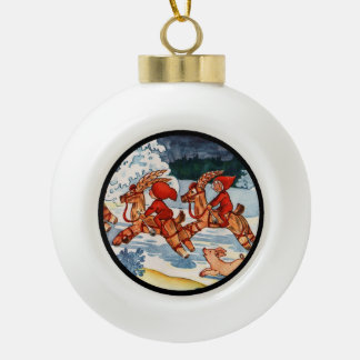 Elves Racing Yule Goats Ceramic Ball Christmas Ornament