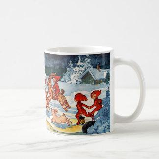 Elves Racing Yule Goats! Classic White Coffee Mug