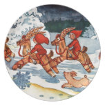 Elves Racing Yule Goats! Party Plates
