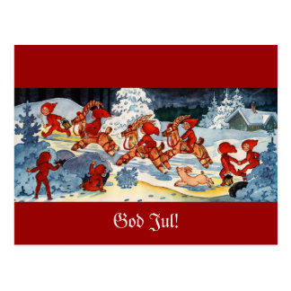 Elves Racing Yule Goats! Postcard