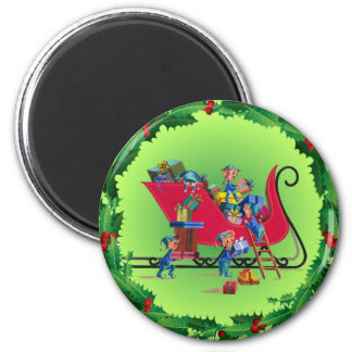 ELVES, SLEIGH & HOLLY by SHARON SHARPE Refrigerator Magnets