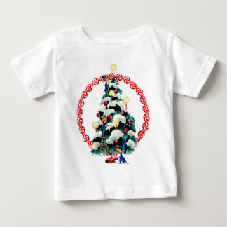 ELVES, TREE & CANDY WREATH by SHARON SHARPE Baby T-Shirt