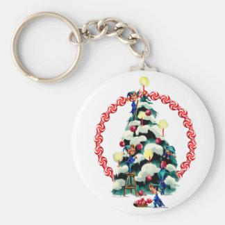 ELVES, TREE & CANDY WREATH by SHARON SHARPE Basic Round Button Keychain