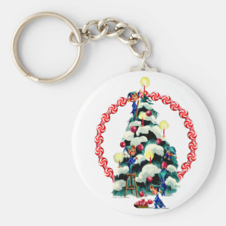 ELVES, TREE & CANDY WREATH by SHARON SHARPE Keychain
