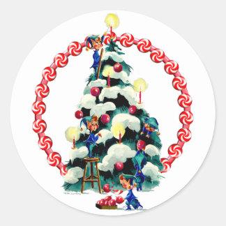 ELVES, TREE & CANDY WREATH by SHARON SHARPE Round Sticker