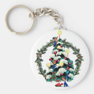 ELVES, TREE & FIR WREATH by SHARON SHARPE Keychain
