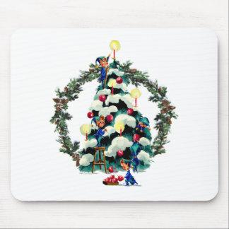 ELVES, TREE & FIR WREATH by SHARON SHARPE Mouse Pad