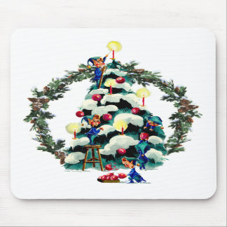 ELVES, TREE & FIR WREATH by SHARON SHARPE Mouse Pad