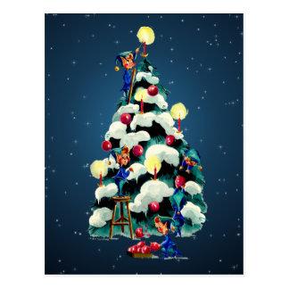 ELVES, TREE & STARS by SHARON SHARPE Postcard