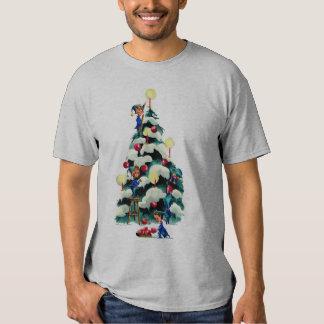 ELVES TRIMMING CHRISTMAS TREE by SHARON SHARPE Shirt