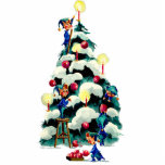 ELVES TRIMMING the CHRISTMAS TREE by SHARON SHARPE Cutout