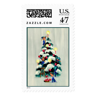 ELVES TRIMMING the TREE by SHARON SHARPE Stamp