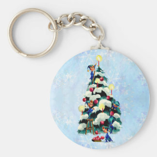 ELVES TRIMMING TREE by SHARON SHARPE Keychain