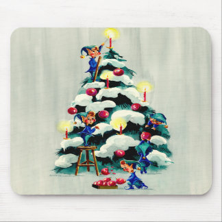 ELVES TRIMMING TREE by SHARON SHARPE Mouse Pad
