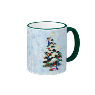 ELVES TRIMMING TREE  by SHARON SHARPE Ringer Coffee Mug