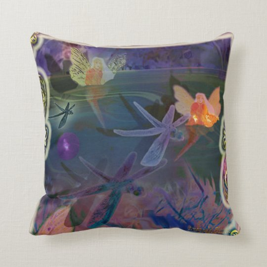 elves with dragonflies throw pillow