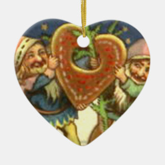 ELVES WITH HEART CERAMIC ORNAMENT
