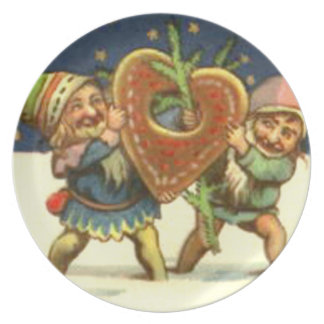 ELVES WITH HEART MELAMINE PLATE
