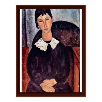Elvira With A White Collar By Modigliani Amedeo Postcard