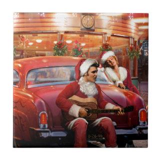 Elvis and Marilyn Christmas Ceramic Tile