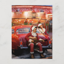 Elvis and Marilyn Christmas Holiday Postcard