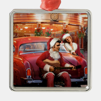 Elvis and Marilyn Christmas Metal Ornament