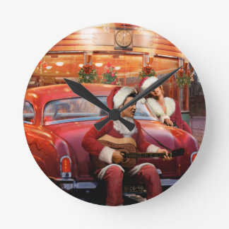 Elvis and Marilyn Christmas Round Clock