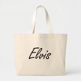 Elvis Artistic Name Design Large Tote Bag
