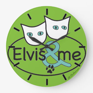 'Elvis & ME' Green Large Round Wall Clock