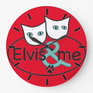'Elvis & ME' Red Large Round Wall Clock
