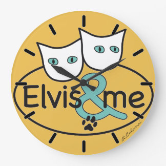 'Elvis & ME' Yellow Large Round Wall Clock