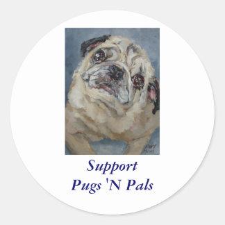 Elvis Puggy Portrait by Nancy Medina Classic Round Sticker