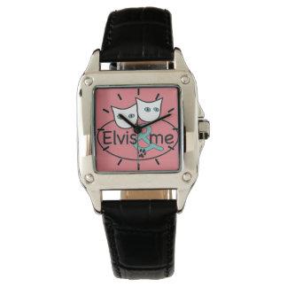 """""""Elvis y yo"""" correa de cuero del negro cuadrado Relojes De Pulsera"""