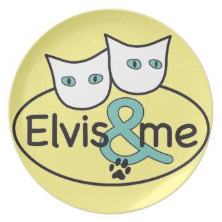 """""""Elvis y yo"""" placa amarilla clara de la melamina Platos Para Fiestas"""