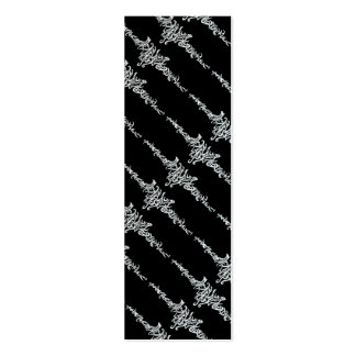 Elvish Love Tribal Line White Ink Drawing Bookmark Mini Business Card