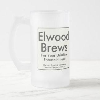 Elwood Brews Frosted Glass Beer Mug