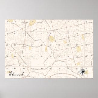 Elwood Treasure Map (5x10 grid) Poster