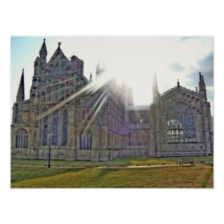 Ely Cathedral Sun Rays Print print