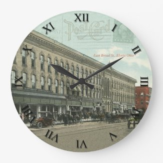 Elyria Ohio Post Card Clock, E Broad Street 1922