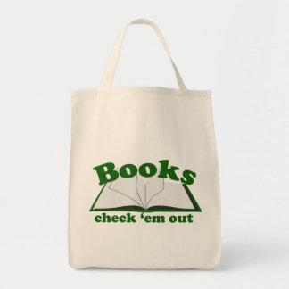 Em del control de los libros hacia fuera bolsa tela para la compra