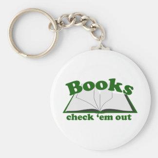 Em del control de los libros hacia fuera llavero redondo tipo pin