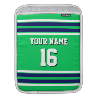 Em Green Navy White Team Jersey Custom Number Name Sleeve For iPads