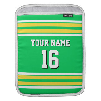 Em Green Yellow Wht Team Jersey Custom Number Name Sleeve For iPads