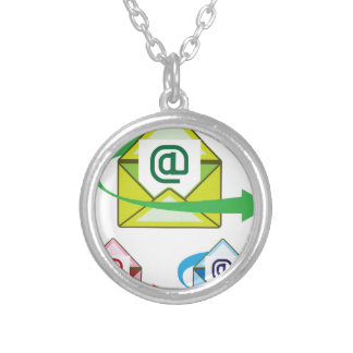 Email Icon mail sent vector Silver Plated Necklace