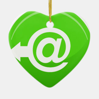 Email Send Round Green Button Ceramic Ornament