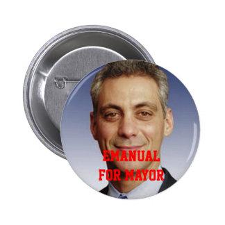 Emanual para el alcalde pin redondo 5 cm
