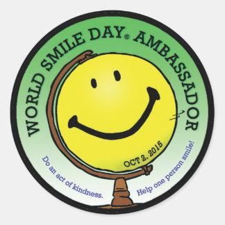 Embajador 2015 de Day® de la sonrisa del mundo Pegatina Redonda