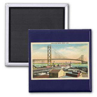 Embajador Bridge vintage de Detroit, Michigan Imán Cuadrado