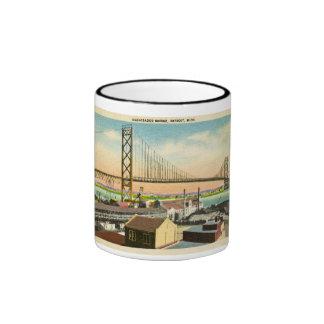 Embajador Bridge vintage de Detroit Michigan Tazas